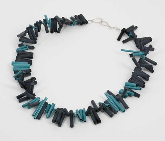 Blue and Onyx Bar Neckpiece