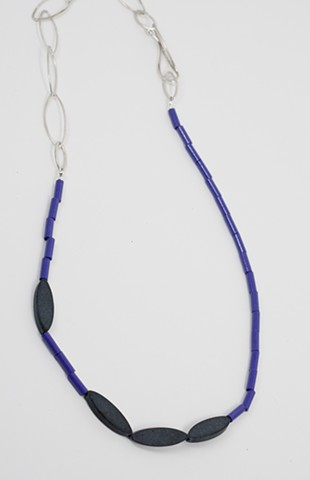 Purple, Onyx and Silver Neckpiece