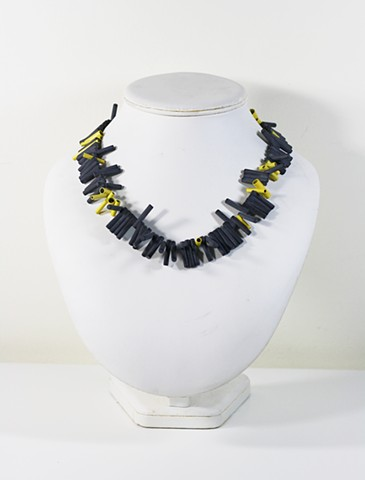 Yellow and Onyx Bar Neckpiece