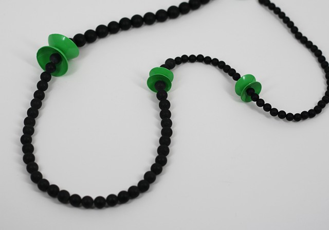 Green Circle and Onyx Neckpiece