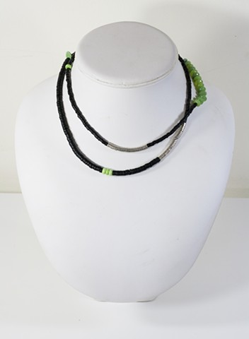 Coconut Shell with Green Bead