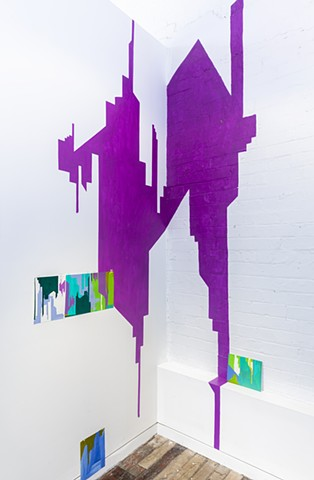 wall painting with silkscreen prints installation of abstracted cityscape by Merryn Trevethan