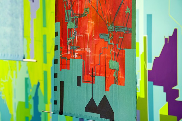 Merryn Trevethan abstract cityscapes silk banners  artist in Singpore