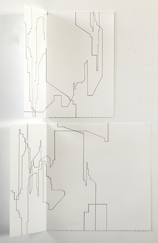 Can't get there from here folded drawings by Merryn Trevethan