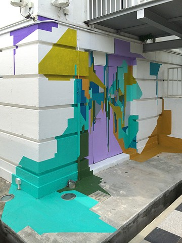 exploding cityscape mural painting for Drive public art festival at gillman Barracks Singapore