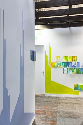 wall painting installation of abstracted cityscape by Merryn Trevethan