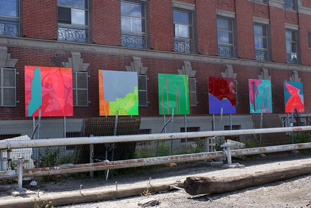 Public art paintings on Plexiglass Transit Gallery The Substation by Merryn Trevethan