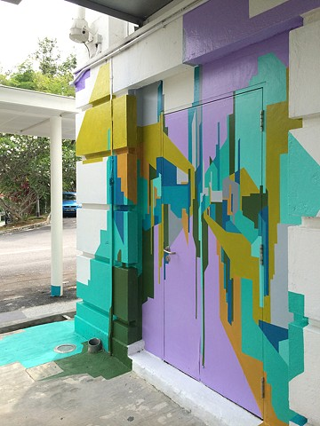 exploding cityscape mural painting for Drive public art festival at gillman Barracks Singapore by merryn trevethan