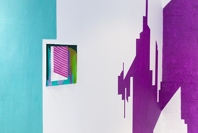 wall painting with silkscreen collage installation of abstracted cityscape by Merryn Trevethan