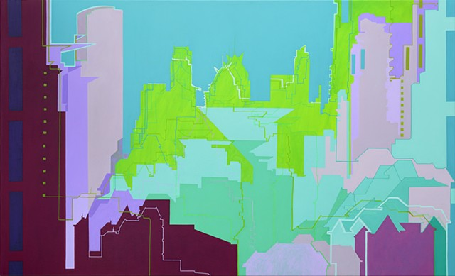 Abstract cityscape painting by Merryn Trevethan