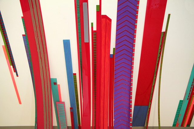3D cityscape painting on perspex Experiment installation by Merryn Trevethan