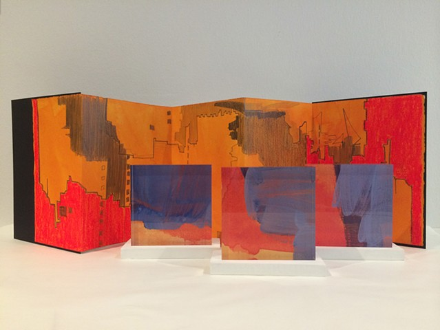 Artist Book  and acrylic tiles by Merryn Trevethan