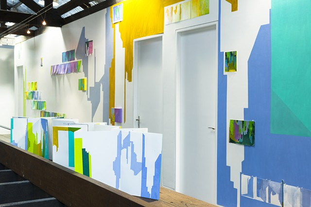 wall painting and monoprints installation of abstracted cityscape by Merryn Trevethan
