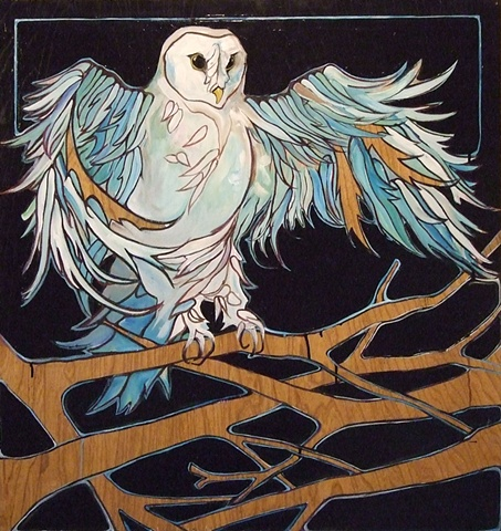 Small Blue Owl Print