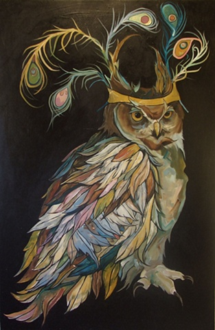 Owl With a Peacock Crown Large