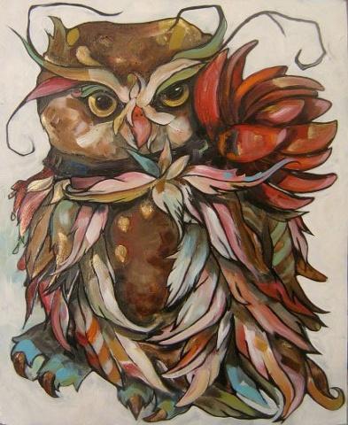 Owl With Orange Lotus