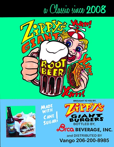 Zippy's Giant Root Beer logo design (advert)