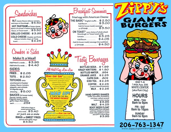 Zippy's Giant Burgers restaurant menu design