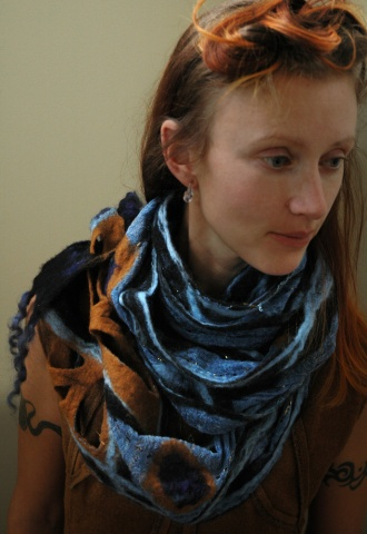Handmade wool felt and cotton scarf