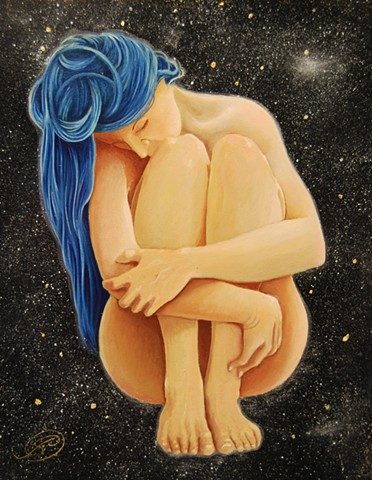 An egg tempera & oil painting of a woman floating in a space constellation