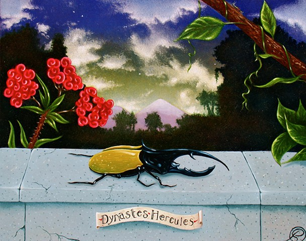 An egg tempera and oil Mische technik painting of a hercules beetle by Jon Gernon