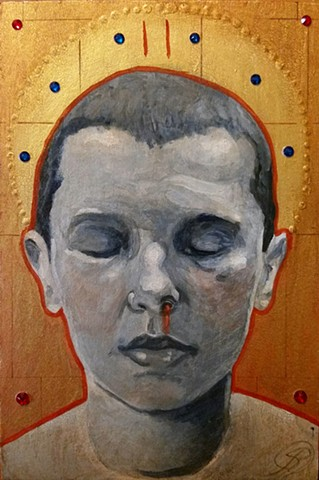 Jon Gernon icon painting of Stranger things character eleven