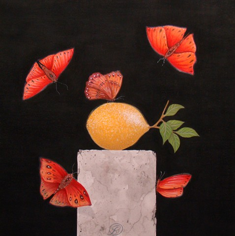 A painting of blood red glider butterflies & a lemon