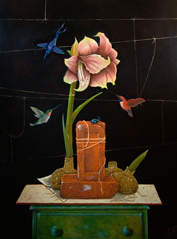 amaryliss with hummingbirds and beetle oil and egg tempera painting on panel