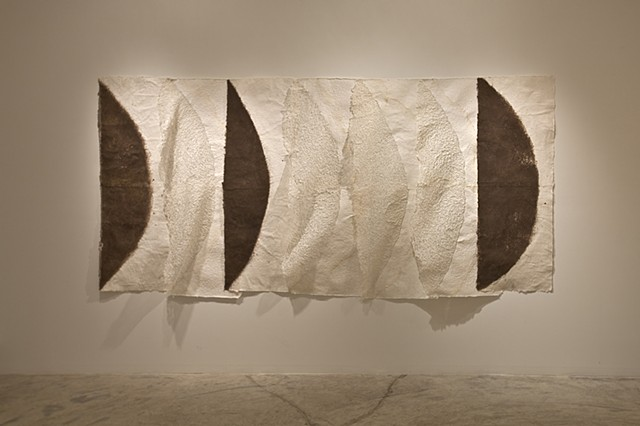''The space between'' solo show exhibition in Miami, plucked paper, soil