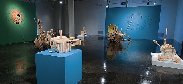 Installation view of Anxious Accumulations at Southwest School of Art San Antonio, TX