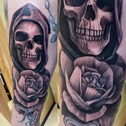 Black and Grey Reaper w/ Rose