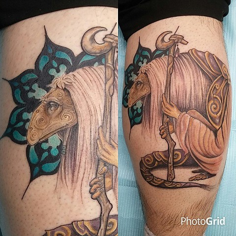Lovecraft Tattoo, Charlotte Epright, Mystic tattoo, Dark crystal Tattoo, Dark Crystal Mystic, Fine Line Tattoo, Single Needle Tattoo