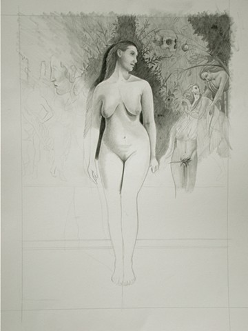 A drawing of a nude woman with Sandro Botticelli in panecil graphite by Jon Gernon