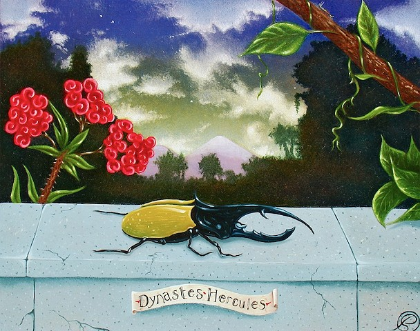 An egg tempera & oil painting of a hercules beetle by Jon Gernon