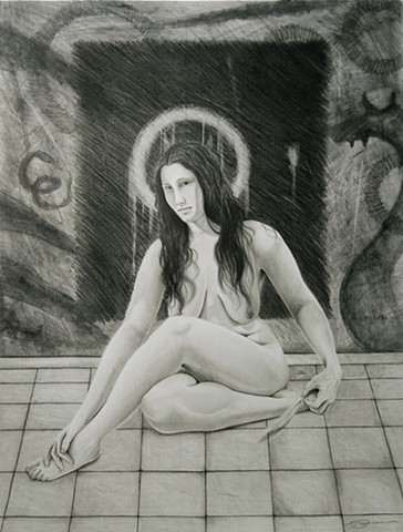 A pencil graphite drawing by Jon Gernon of a nude woman as a fallen angel.