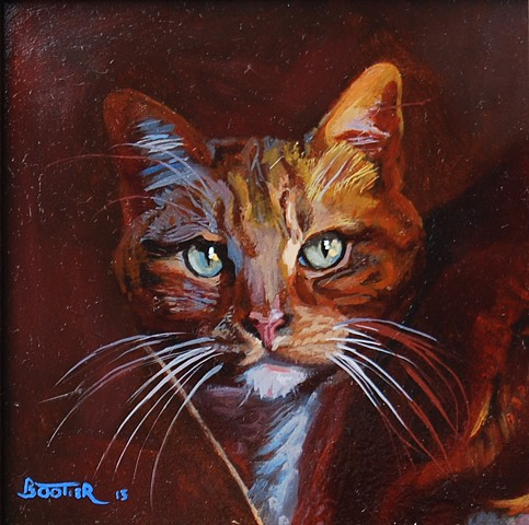 An oil painting of a tiger cat by Robert Bootier