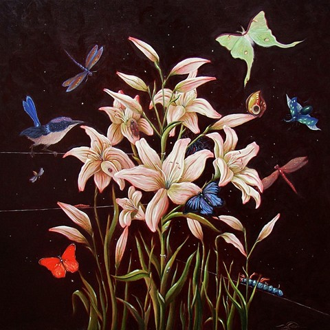 An egg tempera & oil painting of flora and bugs by Jon Gernon