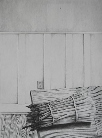 A drawing of asparagus still life in pencil graphite by Jon Gernon