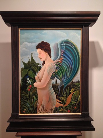 An egg tempera 7 oil painting of a woman with wings by Jon gernon.