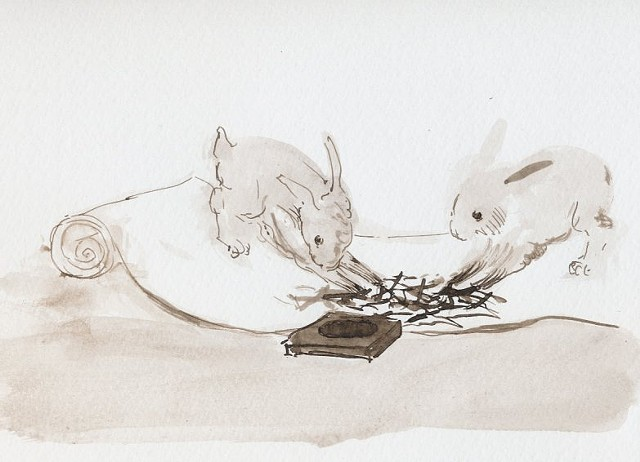 Bunnies Making Calligraphy