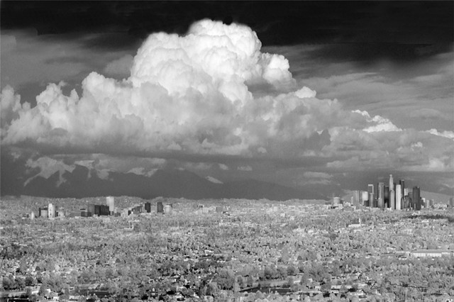 Los Angeles Mid-Wilshire and downtown afterstorm infrared photography
