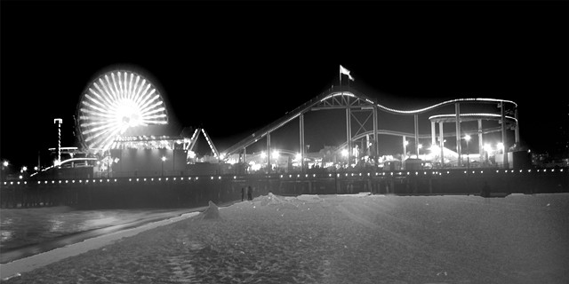 Santa Monica Amusement Pier exposed as an infrared image at night