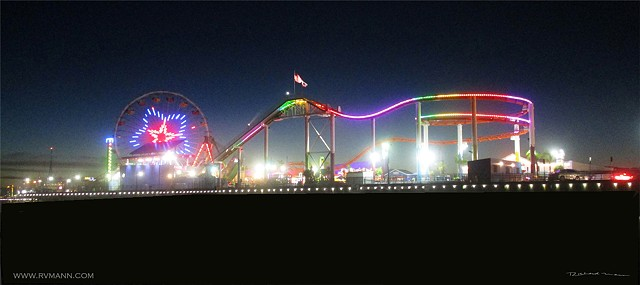 Santa Monica Ca. Amusement Pier in the evening photography by Richard Mann