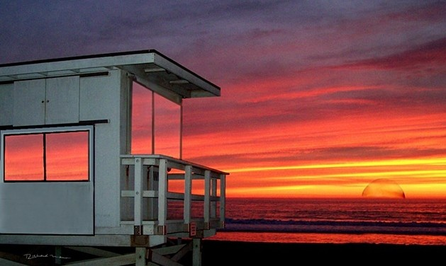 Venice Beach Ca. lifeguard station sunset