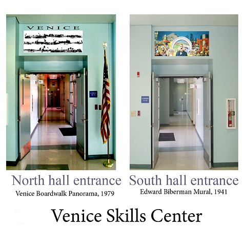 Venice Skills Center installation of the Boardwalk panorama and Beiberman mural reproductions for academic-sake!