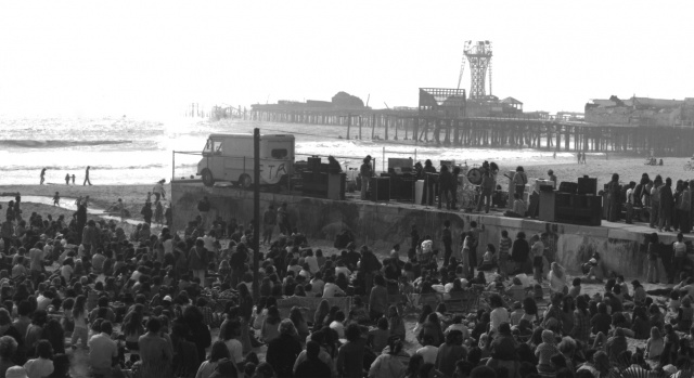 """Psychedelic Rock"" music group ""The Doors"" on the Rose Ave. Pier in Venice CA. (circa 1968)"