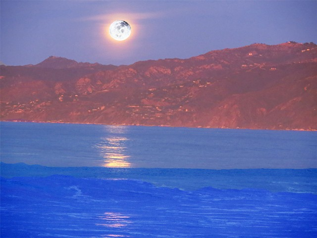 Moonset over the Malibu California Mountains