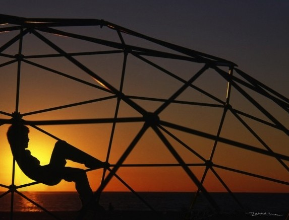 Venice Beach Ca. Bucky Fuller's design at sunset