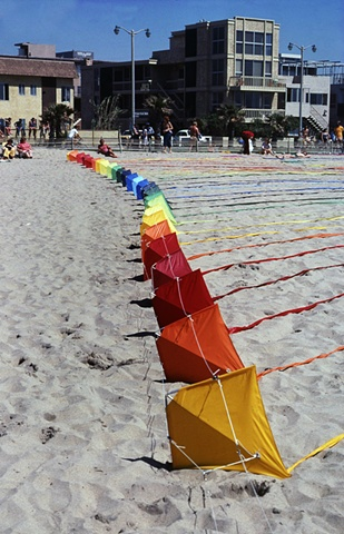 Rainbow kites in Venice Ca.