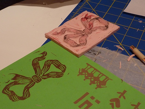 it's useful to test stamps as we carve them...